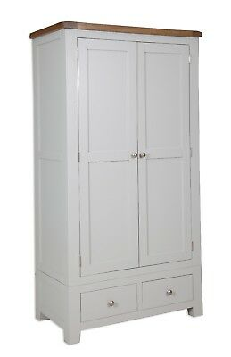 Oak Wardrobe 2 Door 2 Drawer Pine in Dorset Painted French Grey FREE DELIVERY