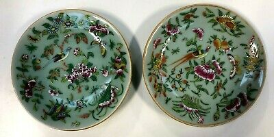 A Pair Of Antique Cantonese Plates On Green Ground