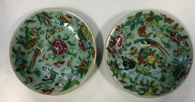 A Pair Of Antique Cantonese Plates On Green Ground 18cm