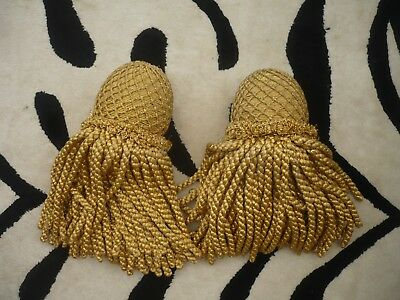 2 wooden covered in gold with long tassels Antique curtain finials Country House