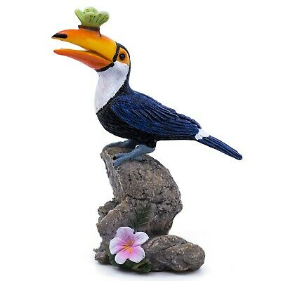 "Toucan With Butterfly Figurine 4.75"" High New!"