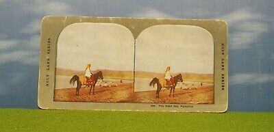 Vintage Stereoview Card - #526 Dead Sea - Palestine (Man On Horse) Middle East