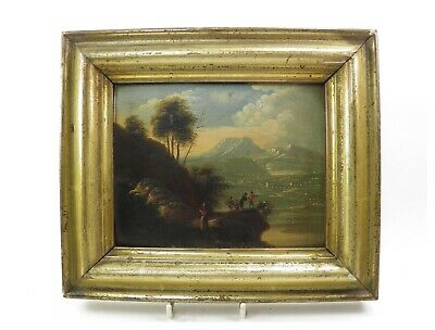 French School antique oil painting on board mountainous landscape with figures
