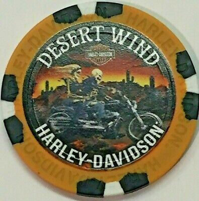Harley Poker Chip    DESERT WIND HD   MESA, AZ   TAN Backgrd