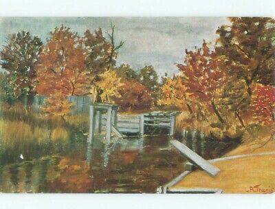 Unused Pre-1980 ARTIST SIGNED - OLD WHARF Long Island - Smithtown NY d6395