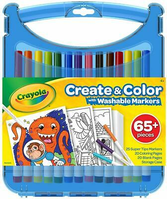 Crayola Create And Colour Supertip Washable Markers Set On The Go Colouring Kid