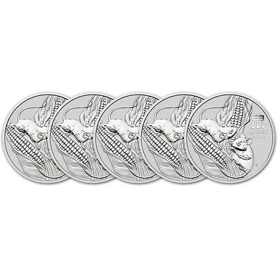 2020 P Australia Silver Lunar Year of the Mouse 5 oz $8 - BU - Five 5 Coins