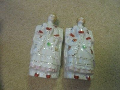 Vintage Two Victorian Ladies Wall Pockets
