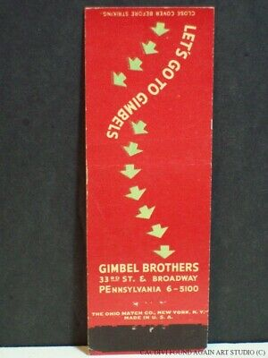 Gimbel Brothers Department Store New York City Broadway Matchbook Cover Red NY
