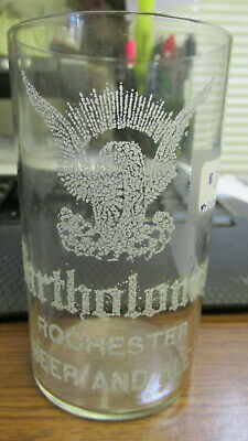 Rochester, N.Y. Bartholomay Brewing Co. Beer and Ale etched (sugar) beer glass