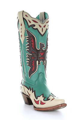 Women/'s Corral Boots Aztec Turquoise Embroidered Boot Style E1155 FREE SHIPPING