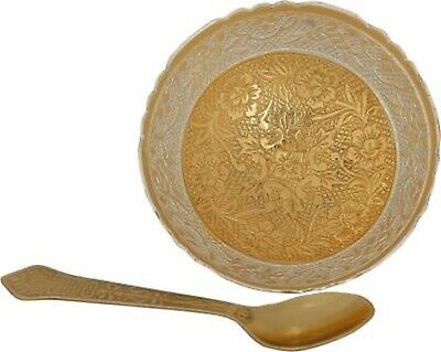 Handicrafts Brass Golden And Silver Plated Serving Bowl And Spoon Set For Gifts