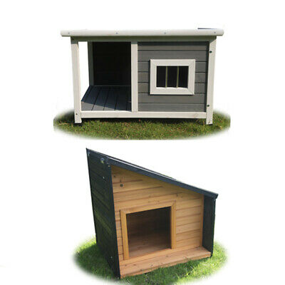 Small Wooden Pet Dog Kennel Timber Cabin Animal House Wood Log Box