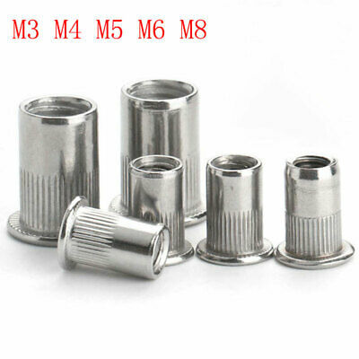 50x ALUMINIUM RIVNUTS THREADED BLIND RIVET NUTS OPEN END NUTSERT M3 M4 M5 M6 M8