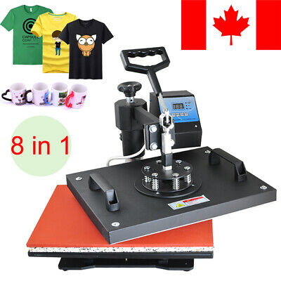 New 8in1 Heat Press Machine Digital Transfer Sublimation T-Shirt Mug Plate Cups
