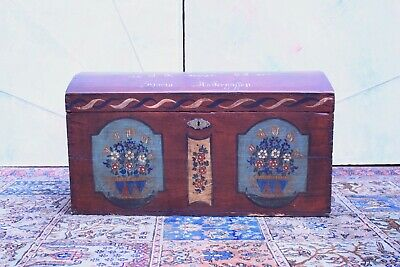Antique Trunk Austrian/Lacquered & Painting/Period Inizioo of '800