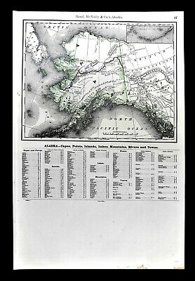 1892 Rand McNally Map Alaska Canada Yukon River Indian Villages Unexplored Sitka