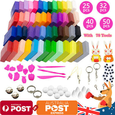 Craft Polymer Clay Moulding Sculpey Fimo Block DIY Oven Bake & Tools 50 Color OZ