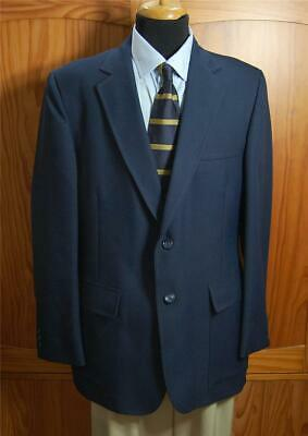 LaMar Navy Blue Vintage Poly Two Bttn Blazer Sport Coat Suit Jacket 40R