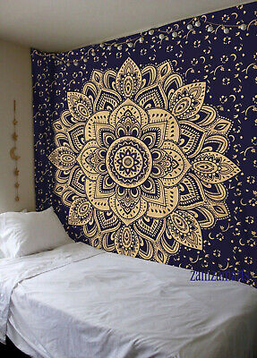 Indian Ombre Mandala Queen Size Blue Gold Wall Hanging Tapestry Home Decorate