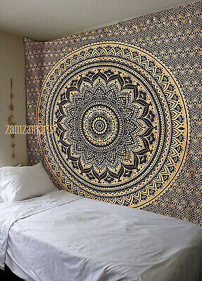 Indian Ombre Mandala Queen Black Gold Wall Decorative Tapestry Cotton Bedspread