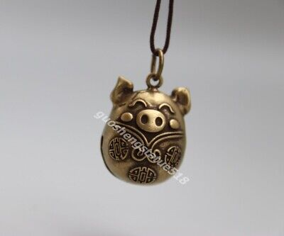 2.5 CM Bronze Chinese Zodiac Animal Wealth Amulet Pig Hog Swine Bell Pendants