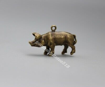 3.5 CM Bronze Chinese Zodiac Animal Lucky Wealth Amulet Pig Hog Swine Pendants