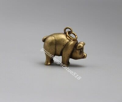 3 CM Bronze Chinese Zodiac Animal Lucky Wealth Amulet Pig Hog Swine Pendants