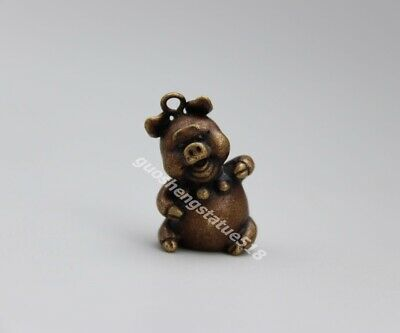 3 CM Pure Bronze Chinese Zodiac Animal Wealth Amulet Pig Hog Swine baby Pendants