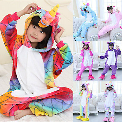 Kids Boy Girl Rainbow Unicorn Kigurumi Animal Cosplay Costume Pajamas Jumpsuit