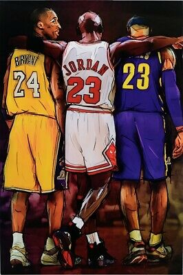 KOBE BRYANT, MICHAEL JORDAN, AND JAMES TRIBUTE POSTER, size 24x36