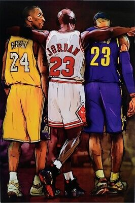 MICHAEL JORDAN, KOBE AND JAMES TRIBUTE POSTER, size 24x36