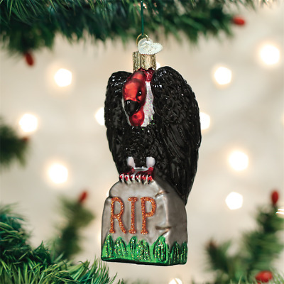 Vulture on Tombstone RIP Halloween Ornament Old World Christmas New in Box
