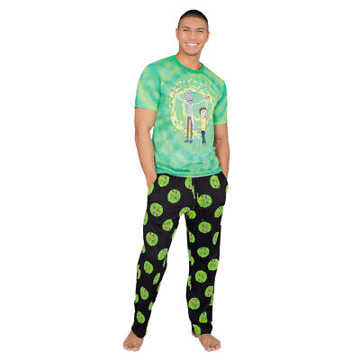 Adult Unisex Rick and Morty Dimension Portal T-Shirt and Pants Pajama Set