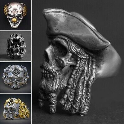 Cool Men's Stainless Steel Gothic Punk Skull Head Band Biker Finger Ring Jewelry