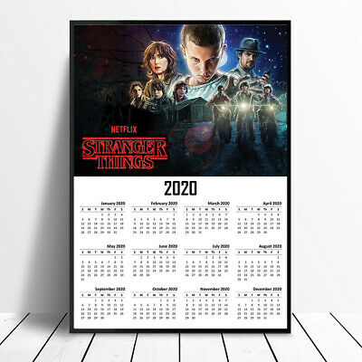 2020 Stranger Things Full Year View Calendar Poster A4 A3 New Year Xmas Gift