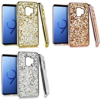 Samsung Galaxy S9 Glitter Flakes Chrome Cute Shiny Case Cover