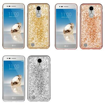 For LG Rebel 2 / Fortune Glitter Flakes Chrome Cute Shiny Case Cover