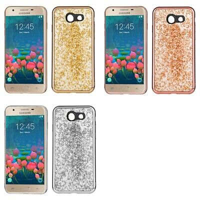 Samsung J7 Sky Pro Prime J7 V Glitter Flakes Chrome Cute Shiny Case Cover