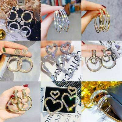 Fashion Women 925 Silver Heart Circle Zircon Dangle Earrings Drop Ear Jewelry UK
