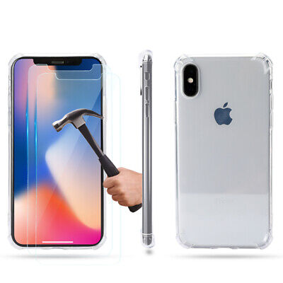 Case and 2PK 10D Screen Protectors for iPhone 11 11Pro Max, XR X, Xs Max Clear
