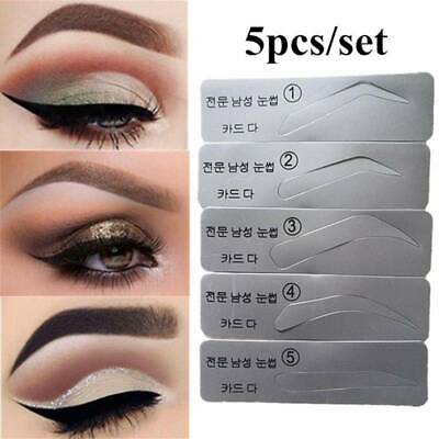 5Pcs Eyebrow Template Stencils Brow Grooming Card Trimming Shaping Beauty LG