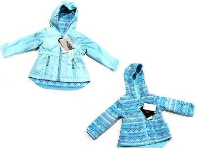 LONDON FOG Girls Reversible COAT Fleece Anorak Jacket ICE BLUE | 4 Years