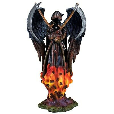 "Grim Reaper Fairy Angel In Flames Holding Scythes Gothic Figurine Statue 10.25""H"
