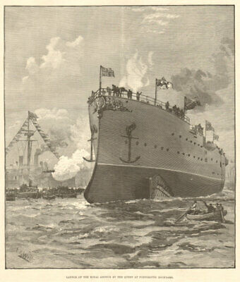 HMS Royal Arthur launched by Queen Victoria, Portsmouth dockyard. Hampshire 1891