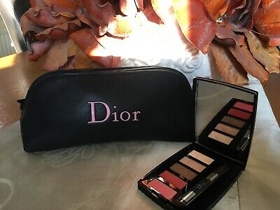 Christian Dior Make Up Gift Set Black  cosmetic bag pouch And Eye/lip Palette
