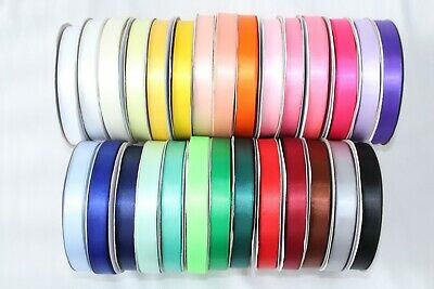 10 METRES of Double Sided Satin Ribbon Full Rolls in 6mm 10mm 15mm 25mm widths