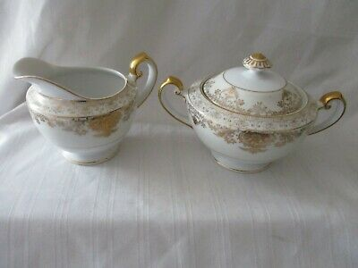 Imperial China Japan vintage footed sugar & creamer set gold ivory white Groton