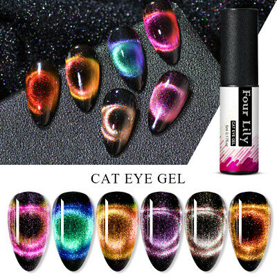 FOUR LILY 9D Magnetic Cat Eye UV Gel Nail Polish Glitter Soak Off Varnish Tips