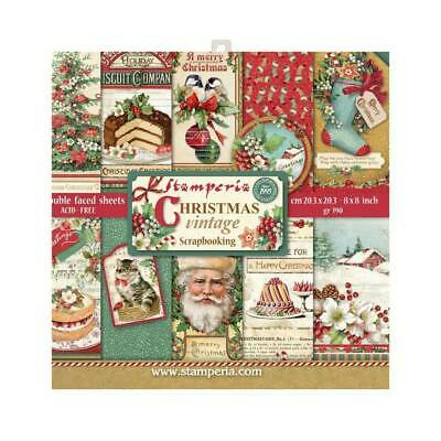 """Stamperia - Block 10 sheets 8x8"""" - Double Sided - Christmas Vintage"""